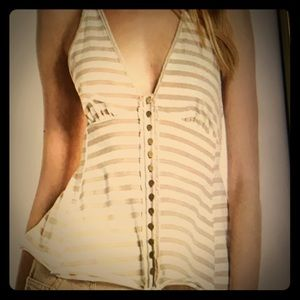 Free people striped button down halter top.